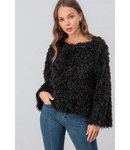 PODOS Shaggy Fringe Sweater