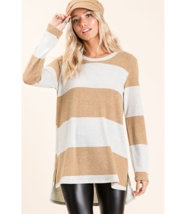 PODOS LONG SLEEVE BOLD STRIPE KNIT TOP