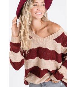 PODOS Stripe V- Neck Sweater