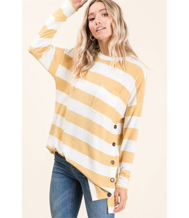 PODOS Striped Long Sleeve Button Top