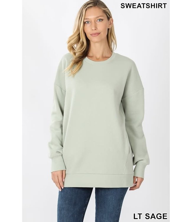 PODOS Round Neck Sweatshirt w/ Pockets