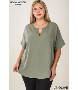PODOS Split Neck Short Sleeve Top PLUS