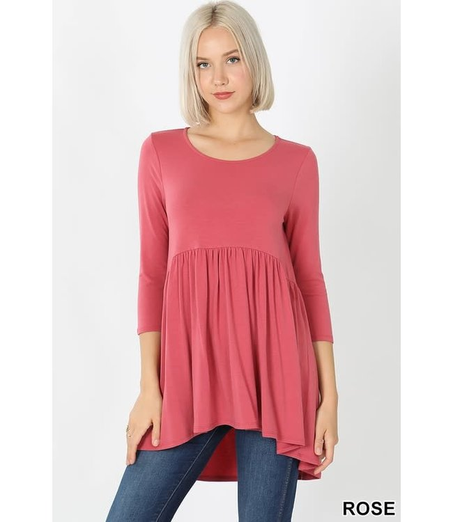 PODOS 3/4 Sleeve Tunic w/ Waist Shirring