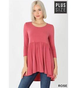 PODOS 3/4 Sleeve Tunic w/ Waist Shirring PLUS