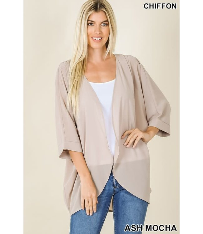 PODOS Chiffon Cardigan w/ Shoulder Pleats