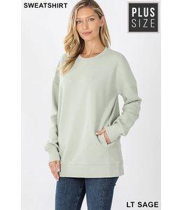 PODOS Round Neck Sweatshirt w/ Pockets PLUS
