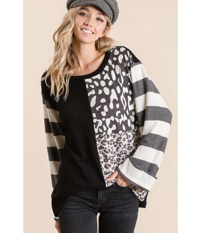 PODOS Popcorn Waffle Sweater Top w/ Leopard Print