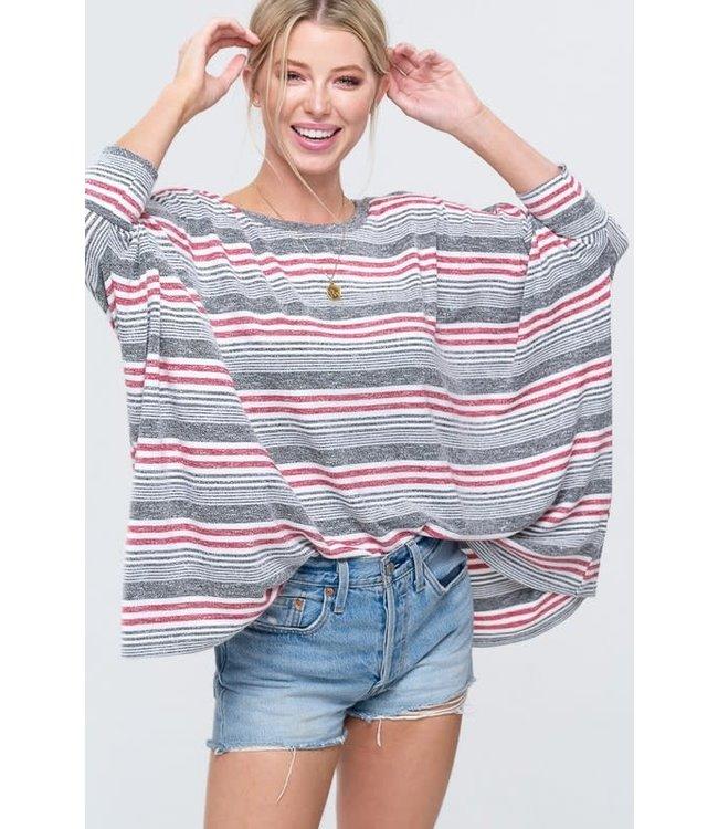 PODOS Soft Stripe Pullover Sweater Top