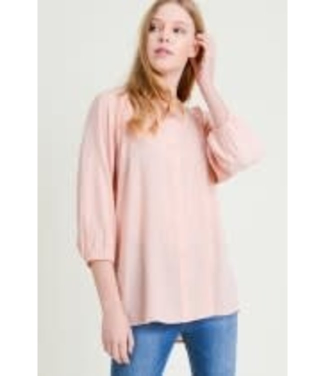 PODOS Rayon Linen 3/4 Sleeve Top