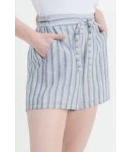 PODOS Striped Shorts w/ Tie Detail
