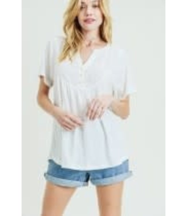 PODOS Henley V-Neck SS Top