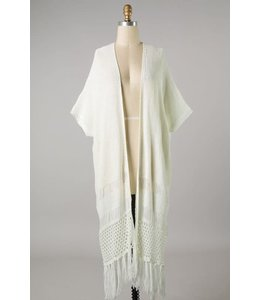 PODOS Crochet w/ Fringe Kimono