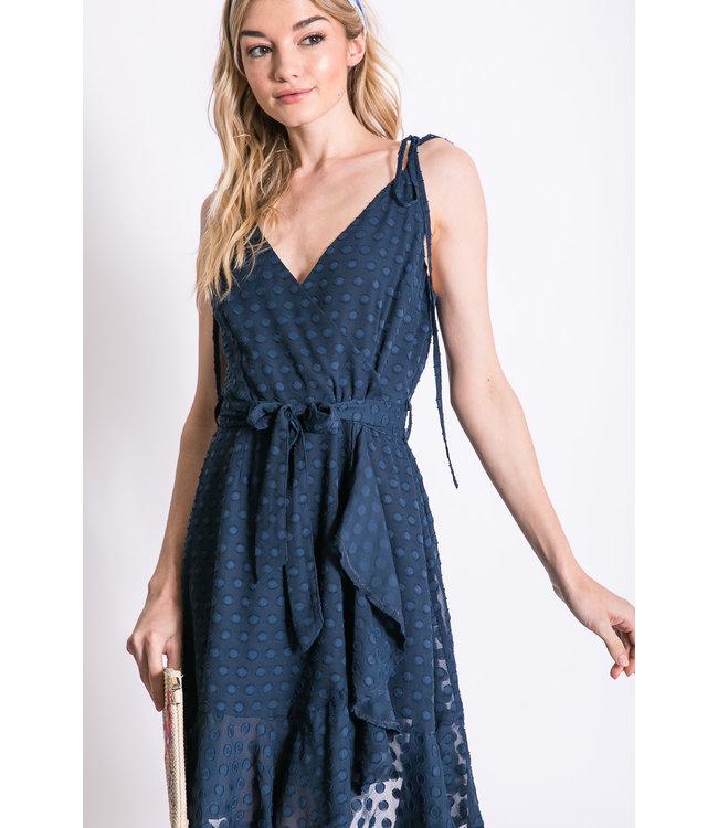 PODOS Polka Dot Lace Surplice Dress