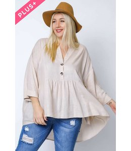 PODOS V Neck Shirred Hi Lo Top PLUS