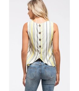 PODOS Striped Button-Back Top