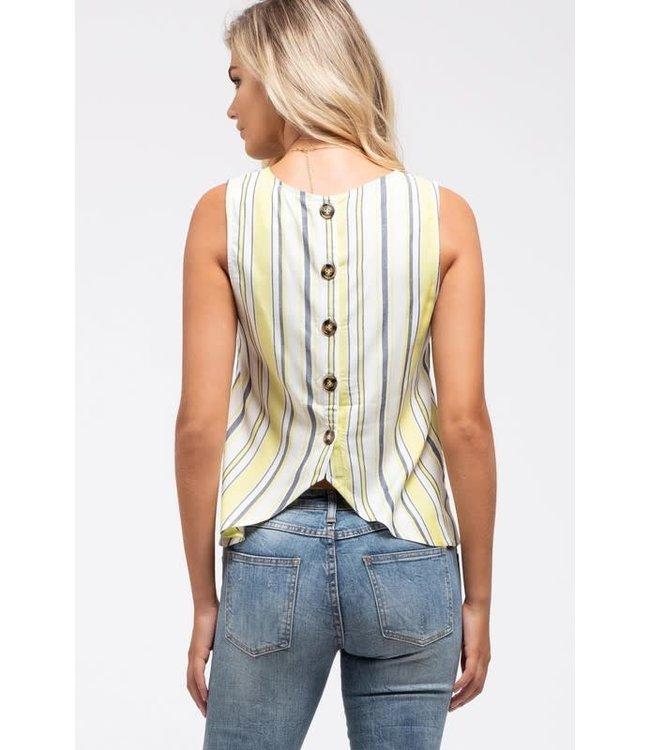 PODOS Striped Button-Back Top