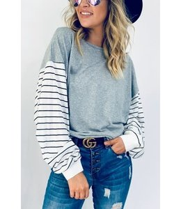 PODOS Striped Balloon Sleeve Casual Top