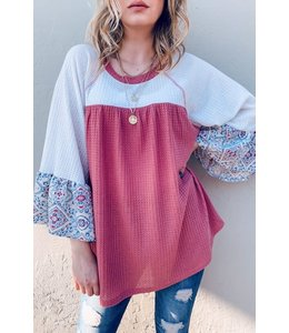 PODOS Floral Print Waffle Knit 3/4 Sleeve Top