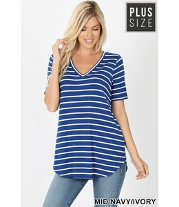 PODOS Stripe V-Neck SS Top