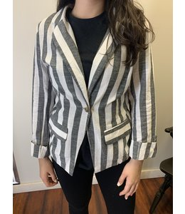 PODOS Stripe Linen Jacket w/ Rolled Sleeves