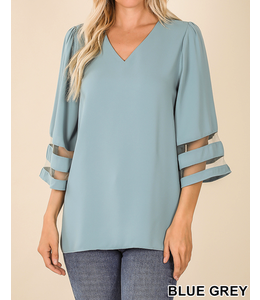 PODOS V-Neck 3/4 Bell Sleeve top PLUS