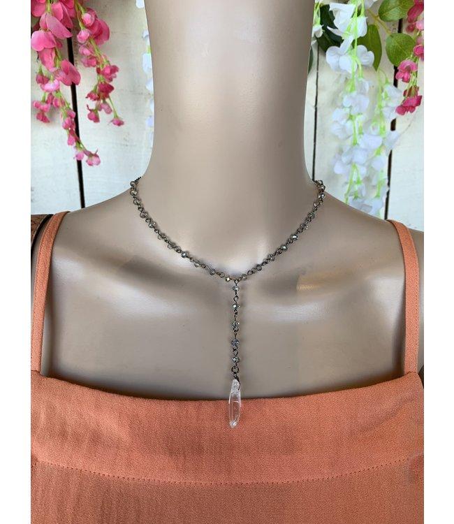 Golden Stella NE79230 Quartz Pendant Y Necklace