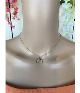 What's Hot Jewelry Multi Crystal Horn Necklace