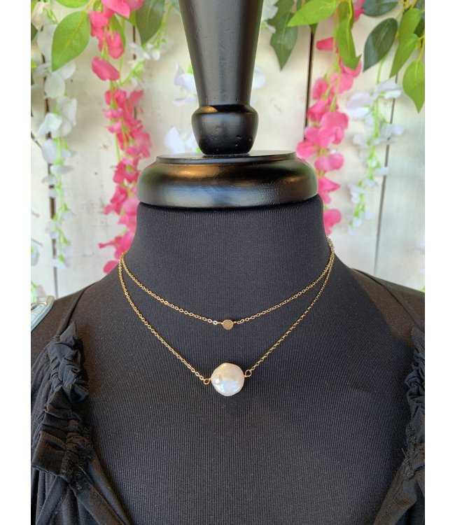 Caroline Hill n18170 Layered Pearl Accent Necklace