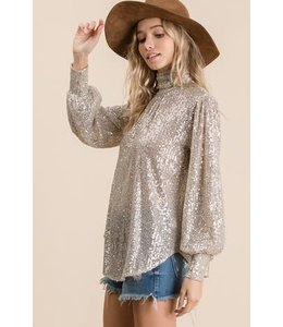 PODOS Sequins Turtle Neck Long Sleeve