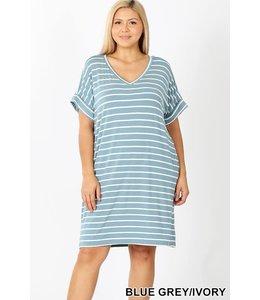 PODOS Plus Short Sleeve V-Neck Dress