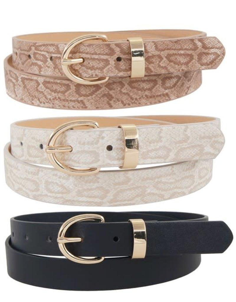PODOS Snake Print Skinny Belt