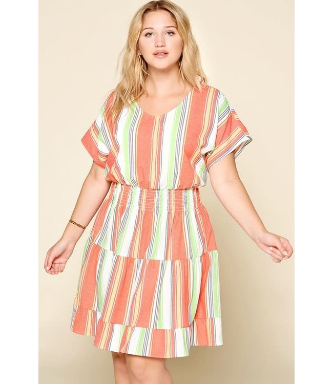 PODOS Striped Dress with Tiered Skirt