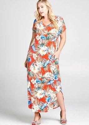 PODOS Tropical Floral Printed Maxi Dress