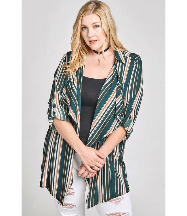 PODOS Multi-Color Variegated Stripe Blazer