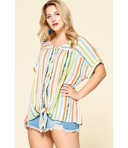 PODOS Multi Color Striped Plus Top