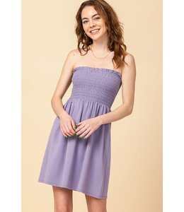 PODOS Strapless Smocked Mini Dress