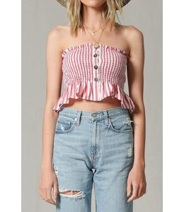 PODOS Front Button Down Striped Tube Top