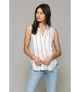 PODOS Sleeveless Raw Edge Bottom Top