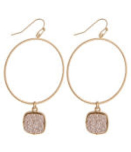 Druzy Accent Metal Earrings