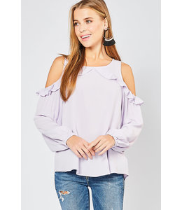 PODOS Cold Shoulder Ruffle Detail Top
