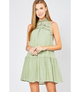 PODOS Crochet & Ruffle Neckline Dress