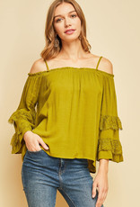 PODOS Off-Shoulder Top w/ Lace Trim Sleeves