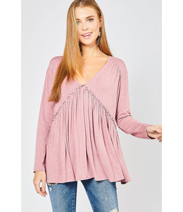PODOS Heather Top w/ Ruched Detail