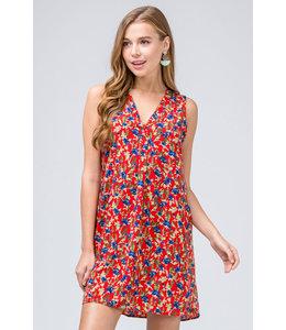 PODOS Floral Sleeveless V-neck Dress