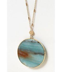 PODOS Round Stone Necklace Blue