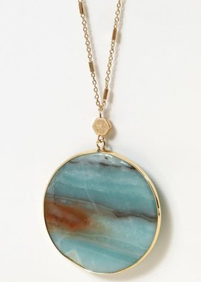 PODOS Round Stone Necklace Blue