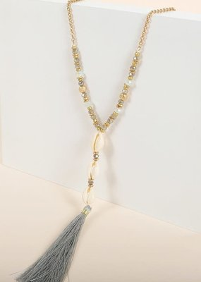PODOS Bead, Shell, Tassel Necklace