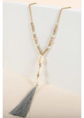 PODOS Bead, Shell, Tassel Necklace