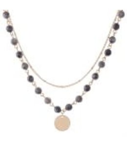PODOS Layered Necklace Grey 144381
