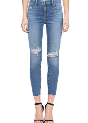 Cello Jeans Mid Rise Crop Skinny Knee Distress
